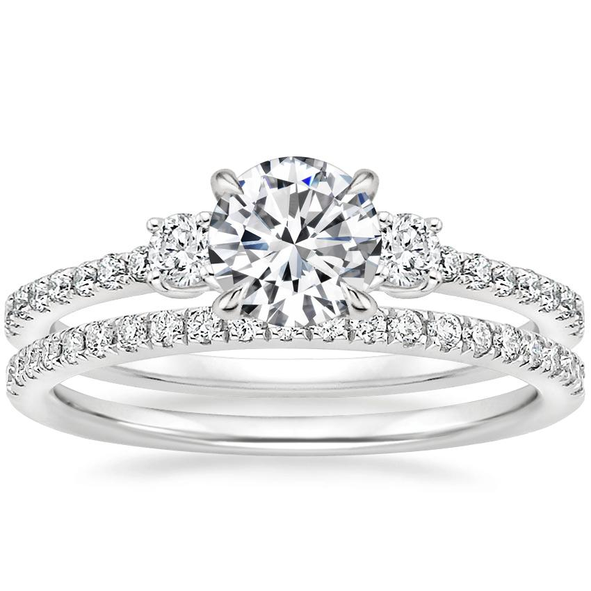 18K White Gold Lyra Diamond Ring (1/4 ct. tw.) with Ballad Diamond Ring (1/6 ct. tw.)