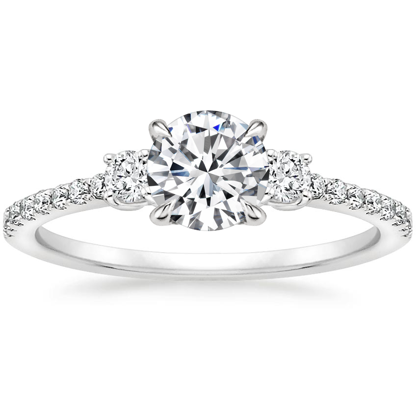 Round Three Stone Accented Engagement Ring