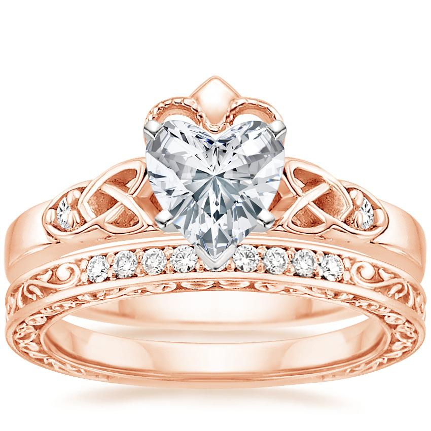 14K Rose Gold Celtic Claddagh Diamond Ring with Delicate Antique Scroll Diamond Ring (1/15 ct. tw.)