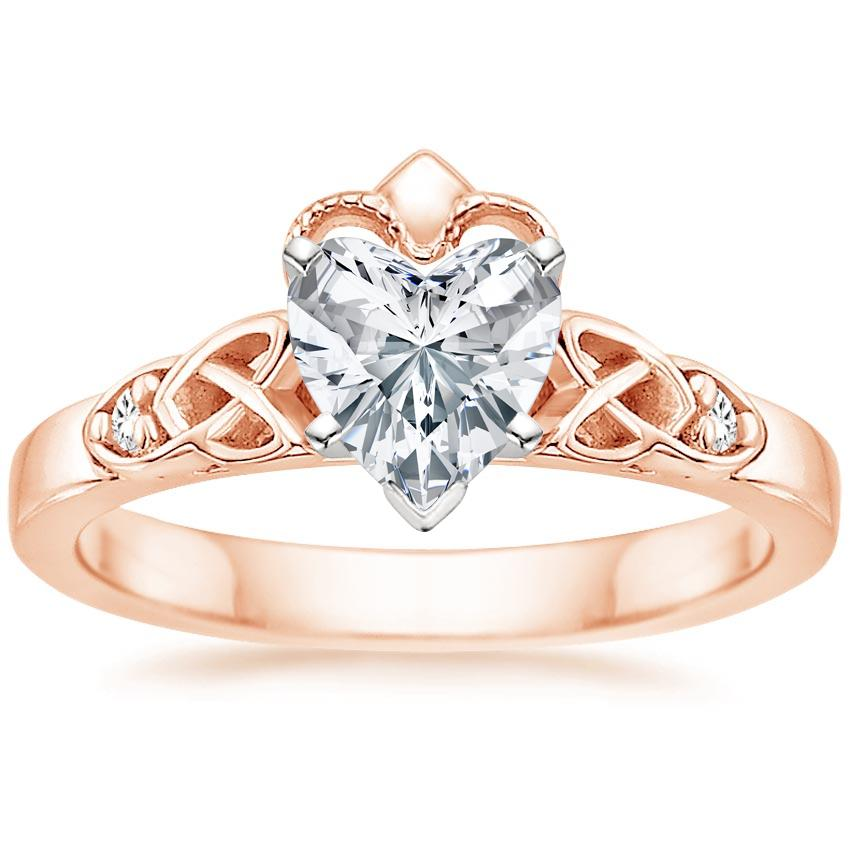 Heart 14K Rose Gold Celtic Claddagh Diamond Ring