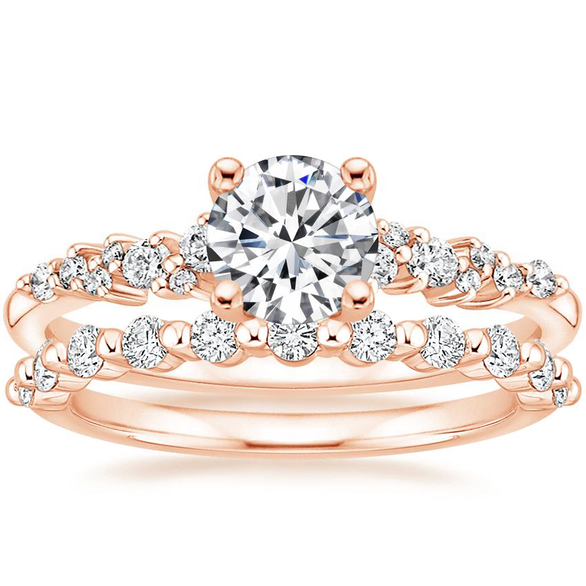 14K Rose Gold Aurora Diamond Ring with Marseille Diamond Ring (1/3 ct. tw.)