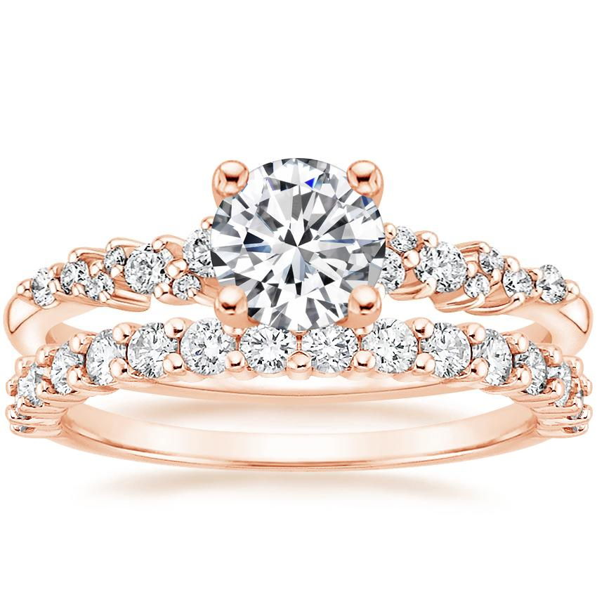 14K Rose Gold Aurora Diamond Ring with Shared Prong Diamond Ring (2/5 ct. tw.)