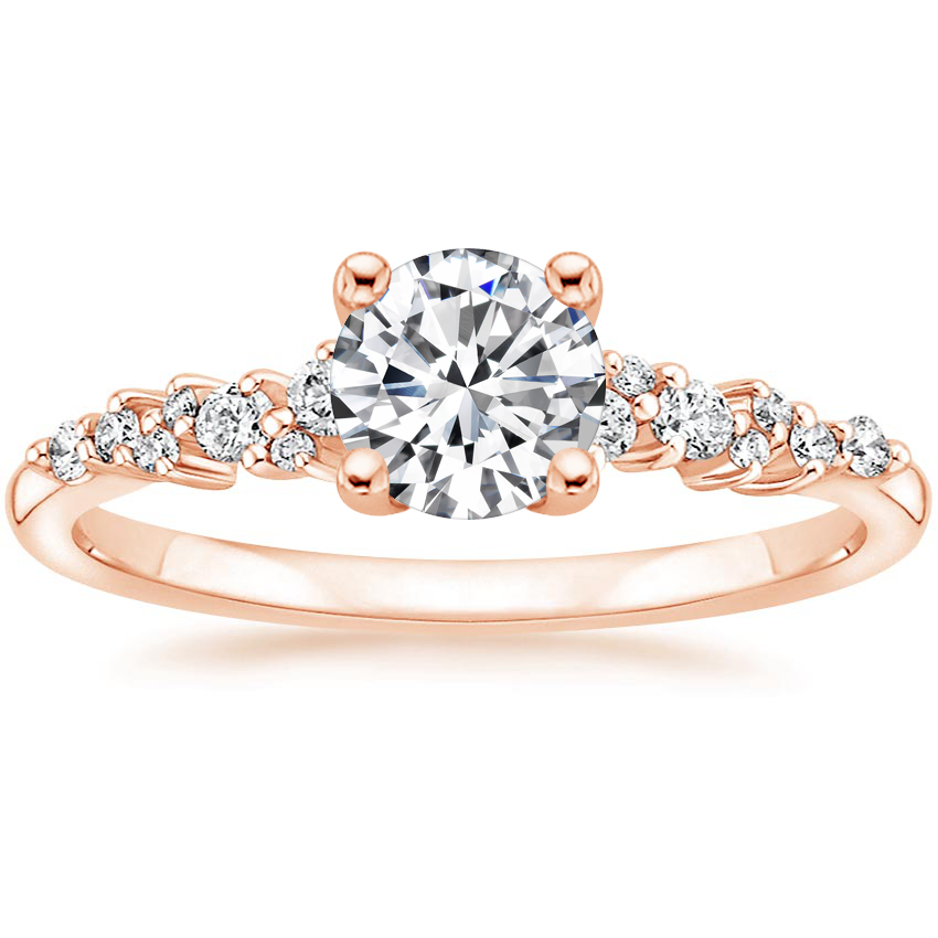 Round Scattered Prong Diamond Engagement Ring