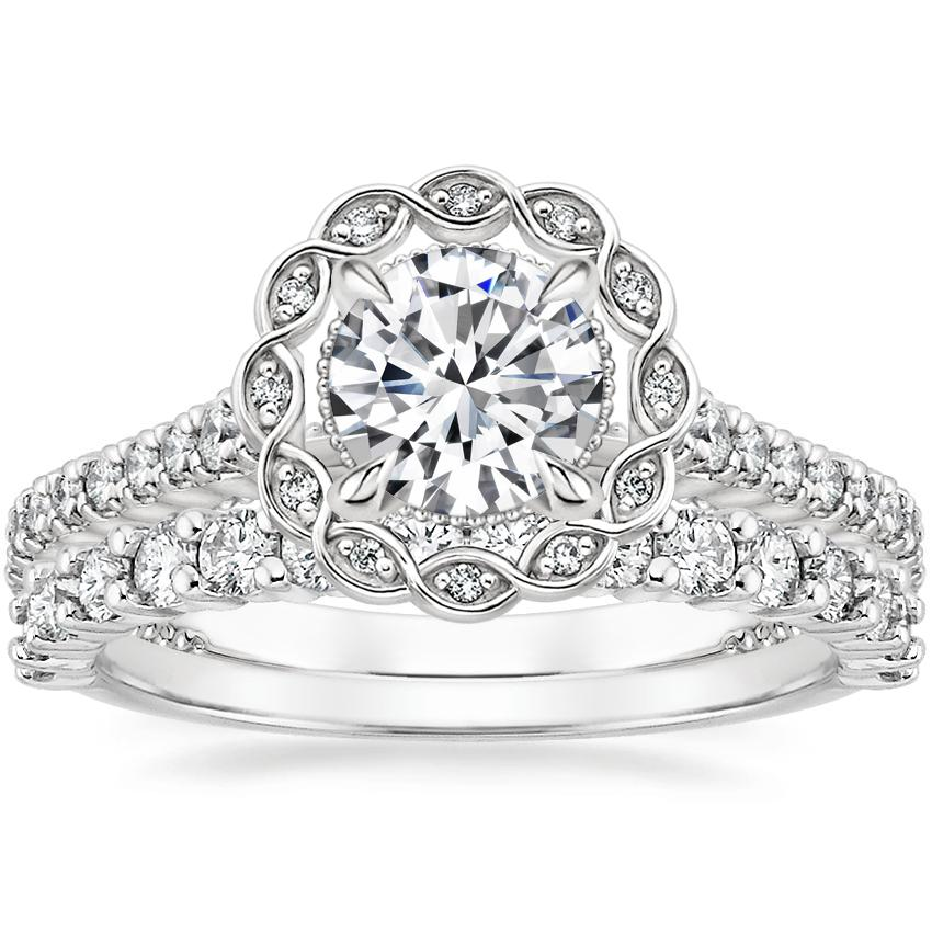 18K White Gold Magnolia Halo Diamond Ring (1/3 ct. tw.) with Shared Prong Diamond Ring (2/5 ct. tw.)