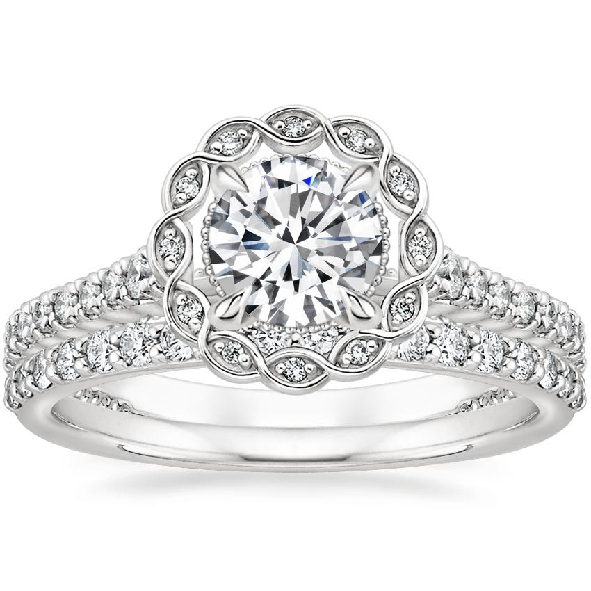 18K White Gold Magnolia Halo Diamond Ring (1/3 ct. tw.) with Petite Shared Prong Diamond Ring (1/4 ct. tw.)
