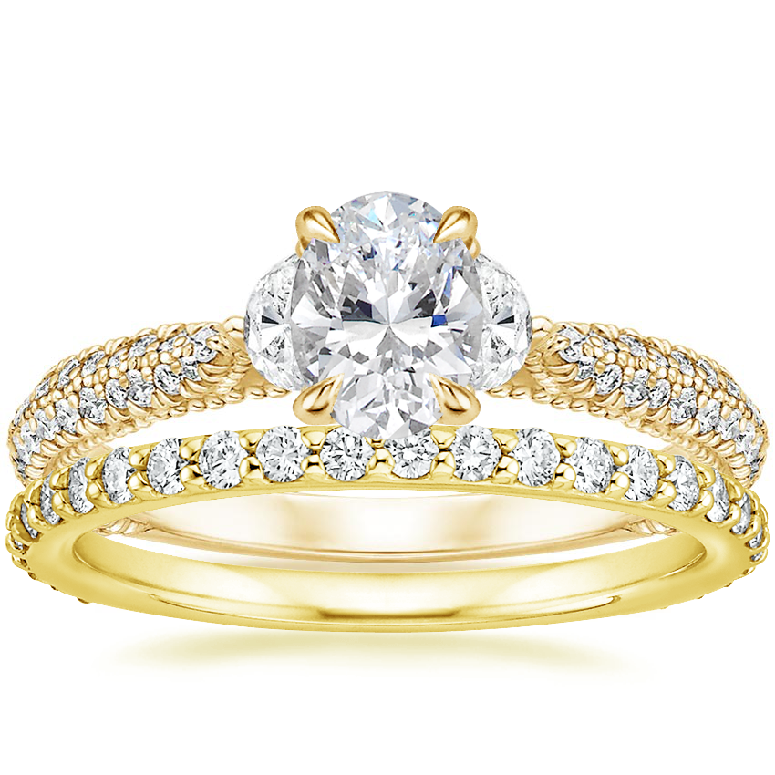 18K Yellow Gold Rosemont Diamond Ring with Luxe Petite Shared Prong Diamond Ring (3/8 ct. tw.)