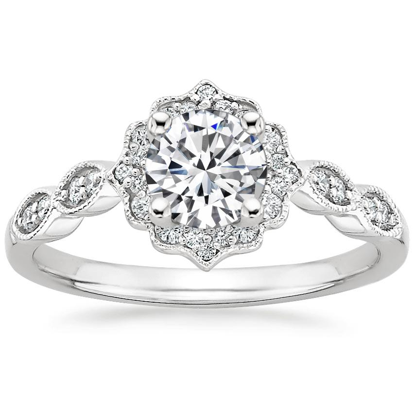 Round 18K White Gold Cadenza Halo Diamond Ring