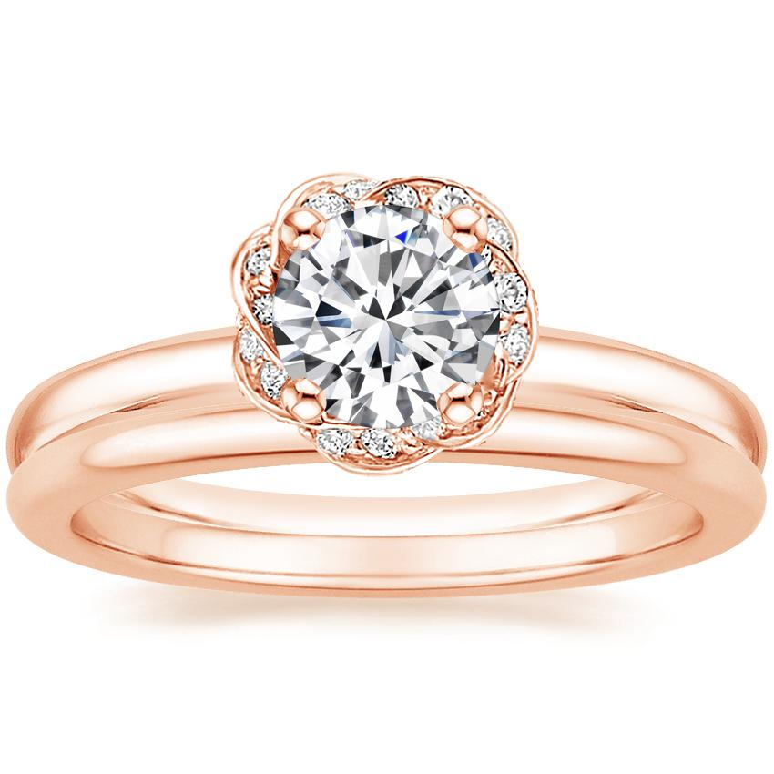 14K Rose Gold Corinna Diamond Ring with Petite Comfort Fit Wedding Ring