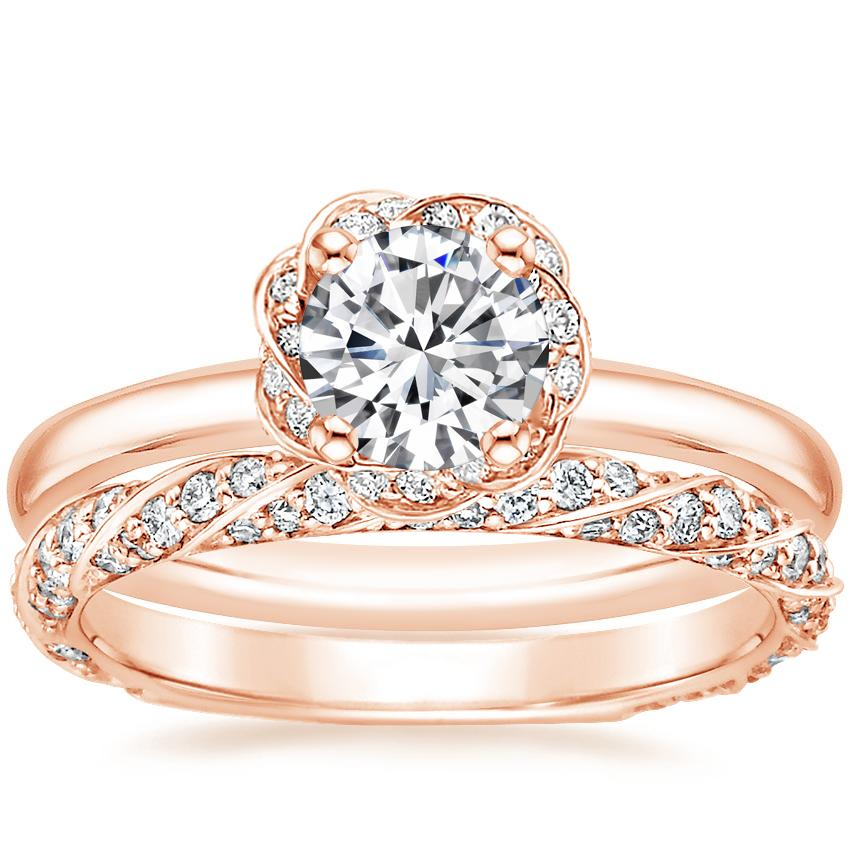 14K Rose Gold Corinna Diamond Ring with Cordoba Diamond Ring