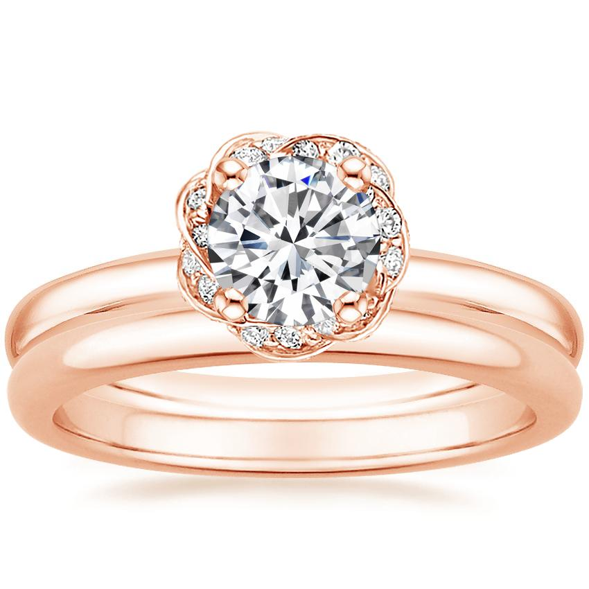 14K Rose Gold Corinna Diamond Ring with 2mm Comfort Fit Wedding Ring