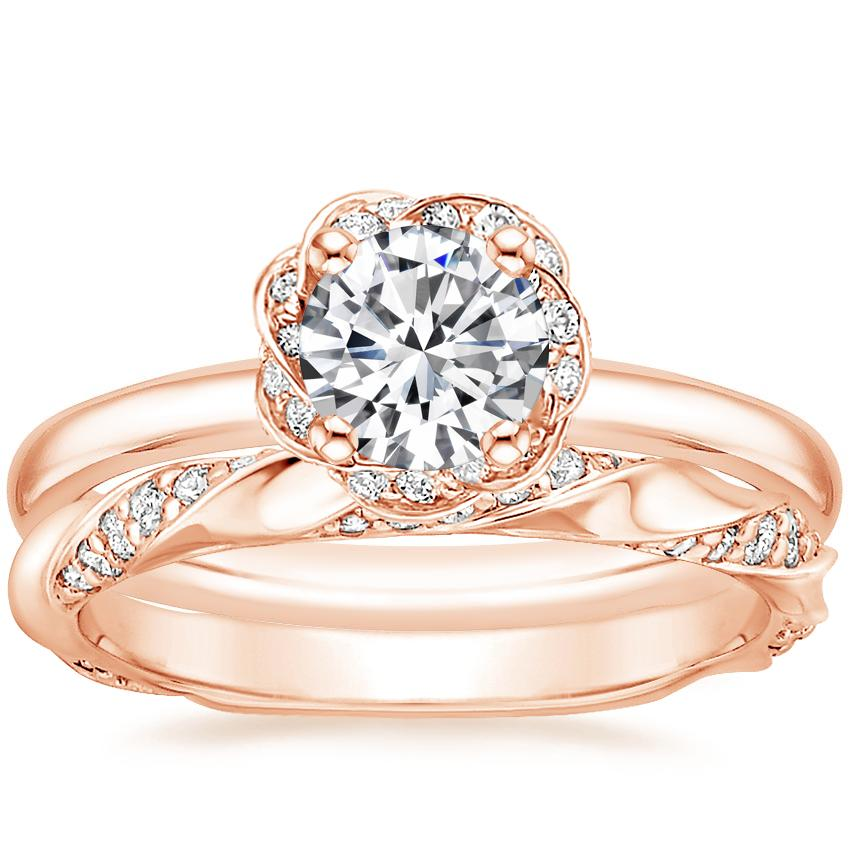 14K Rose Gold Corinna Diamond Ring with Cosima Diamond Ring