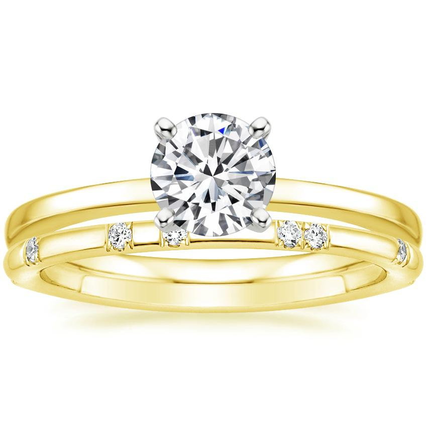 18K Yellow Gold Petite Quattro Ring with Astra Diamond Ring