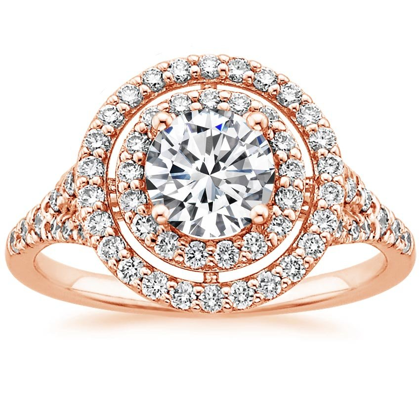 14K Rose Gold Double Halo Diamond Ring (1/2 ct. tw.), top view