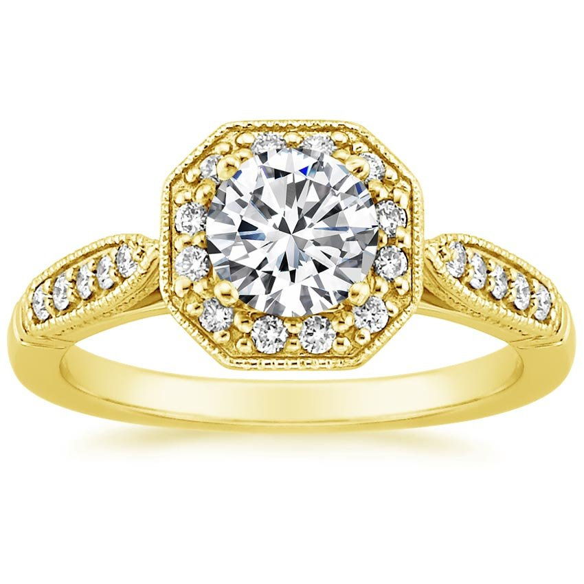 18K Yellow Gold Victorian Halo Diamond Ring, top view