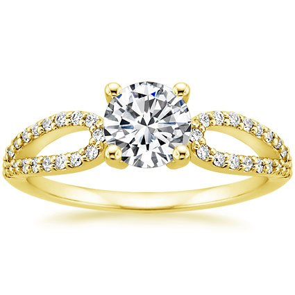 18K Yellow Gold Lumiere Diamond Ring, top view