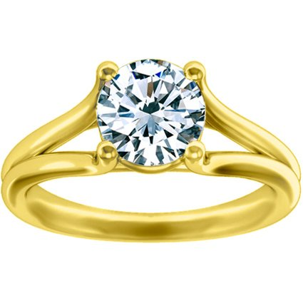 18K Yellow Gold Unity Ring, top view