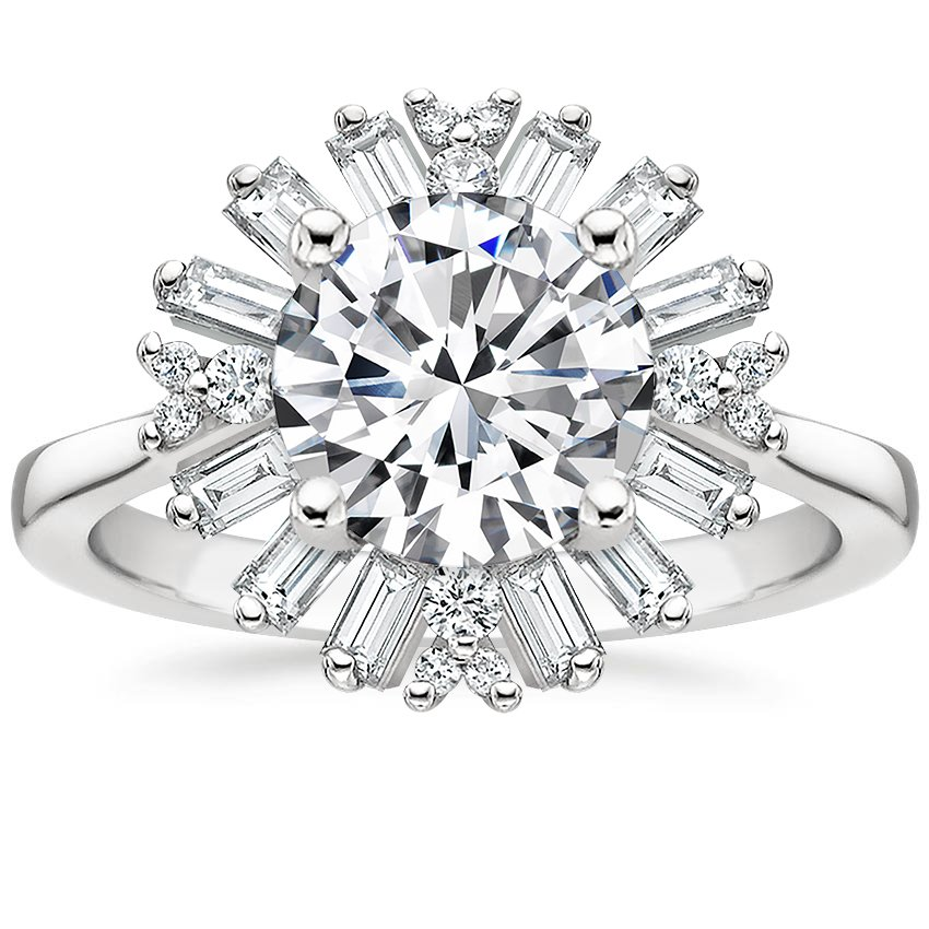 Round 18K White Gold Ballerina Diamond Ring