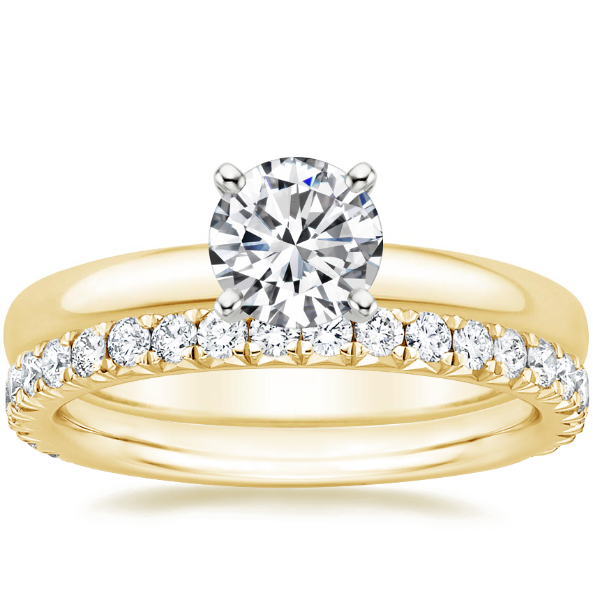 18K Yellow Gold 2.5mm Comfort Fit Ring with Luxe Amelie Diamond Ring (1/2 ct. tw.)
