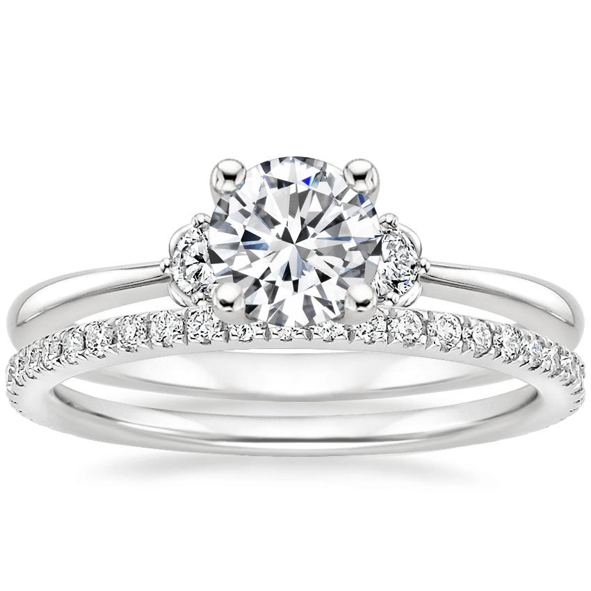 18K White Gold Blossom Diamond Ring with Luxe Ballad Diamond Ring (1/4 ct. tw.)