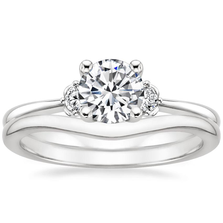 18K White Gold Blossom Diamond Ring with Petite Curved Wedding Ring