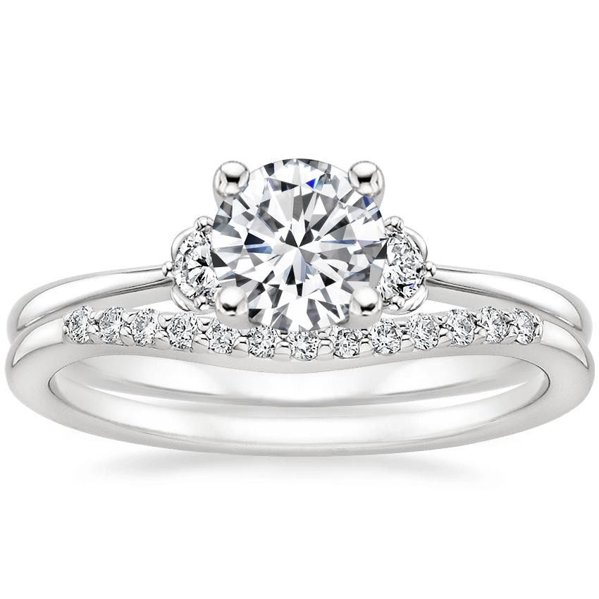 Platinum Blossom Diamond Ring (1/10 ct. tw.) with Petite Curved Diamond Ring (1/10 ct. tw.)