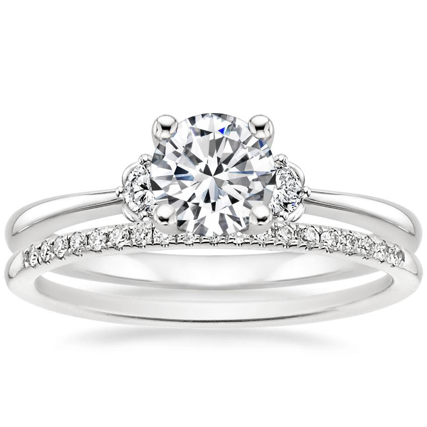 Platinum Blossom Diamond Ring with Whisper Diamond Ring (1/10 ct. tw.)