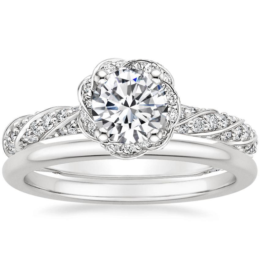 8d95c9c9ecc9 18K White Gold Cordoba Diamond Ring with Petite Comfort Fit Wedding Ring