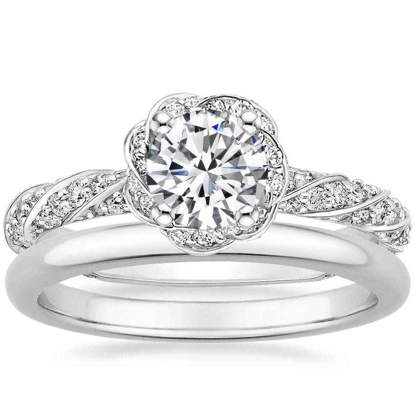 Platinum Cordoba Diamond Ring with 2mm Comfort Fit Wedding Ring