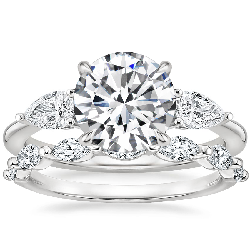 18K White Gold Opera Diamond Ring with Joelle Diamond Ring