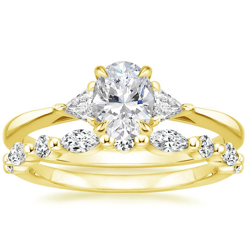 18K Yellow Gold Esprit Diamond Ring with Versailles Diamond Ring (2/5 ct. tw.)