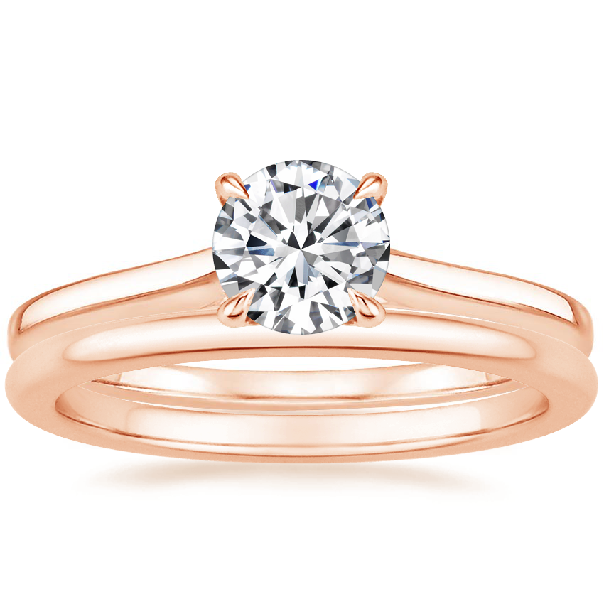 14K Rose Gold Provence Ring with Petite Comfort Fit Wedding Ring