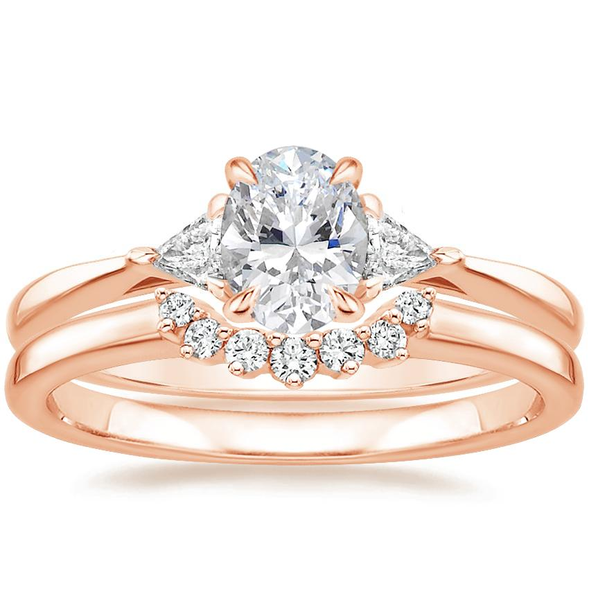 14K Rose Gold Esprit Diamond Ring with Crescent Diamond Ring