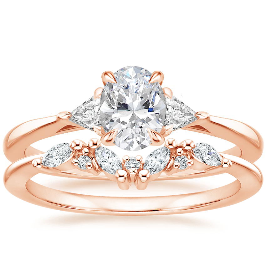14K Rose Gold Esprit Diamond Ring with Yvette Diamond Ring