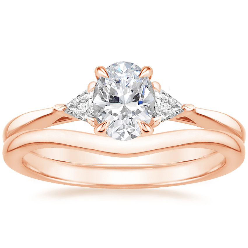 14K Rose Gold Esprit Diamond Ring with Petite Curved Wedding Ring