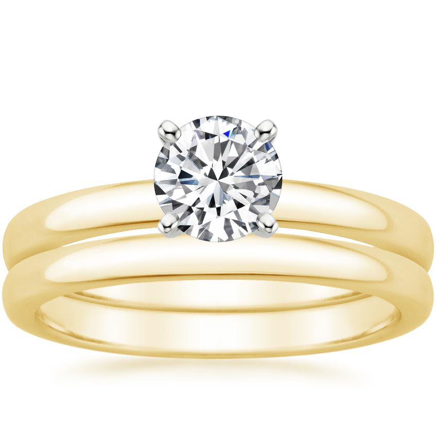 18K Yellow Gold 2.5mm Comfort Fit Bridal Set