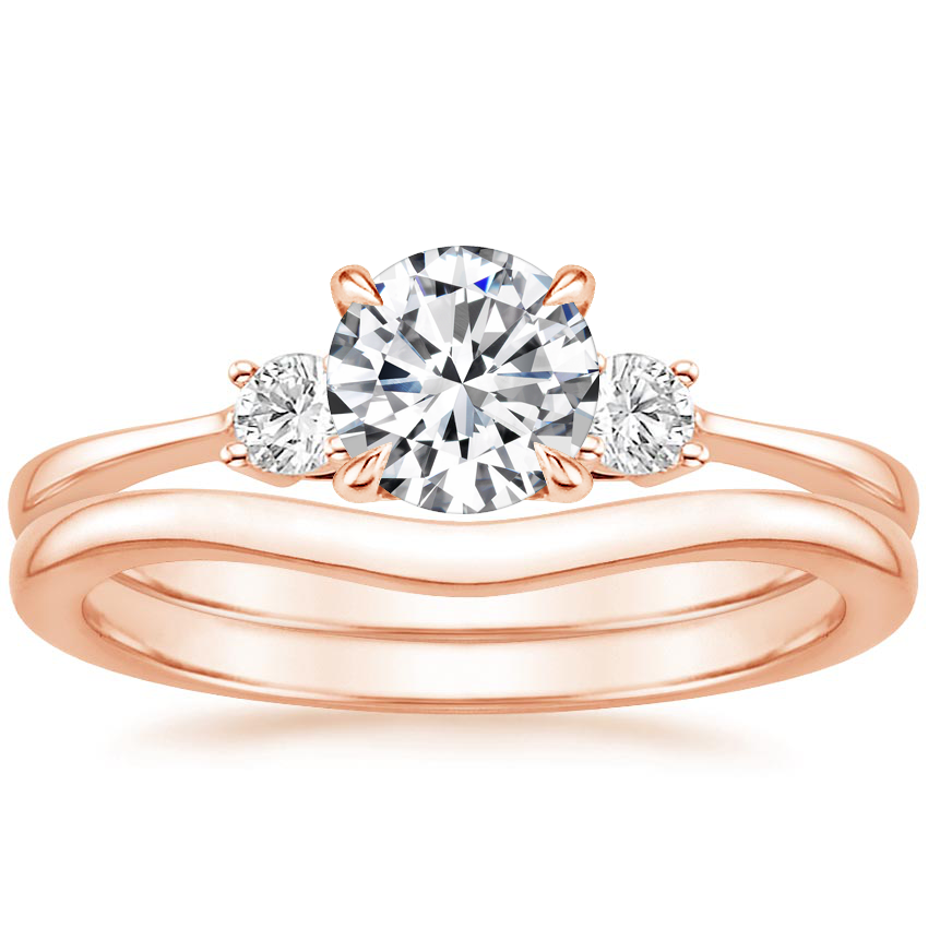 14K Rose Gold Selene Diamond Ring (1/10 ct. tw.) with Petite Curved Wedding Ring