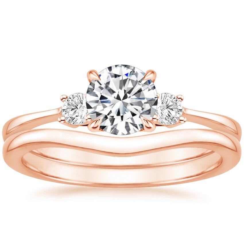 14K Rose Gold Selene Diamond Ring with Petite Curved Wedding Ring