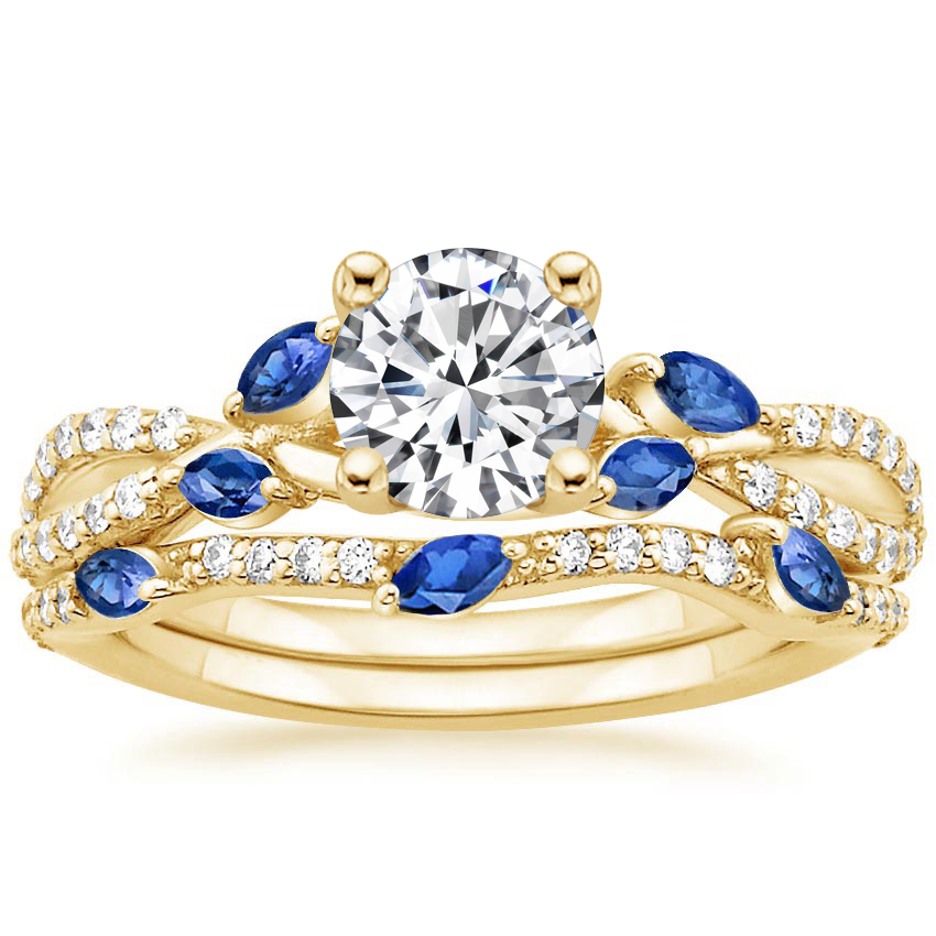 18K Yellow Gold Luxe Willow Sapphire and Diamond Bridal Set (1/4 ct. tw.)