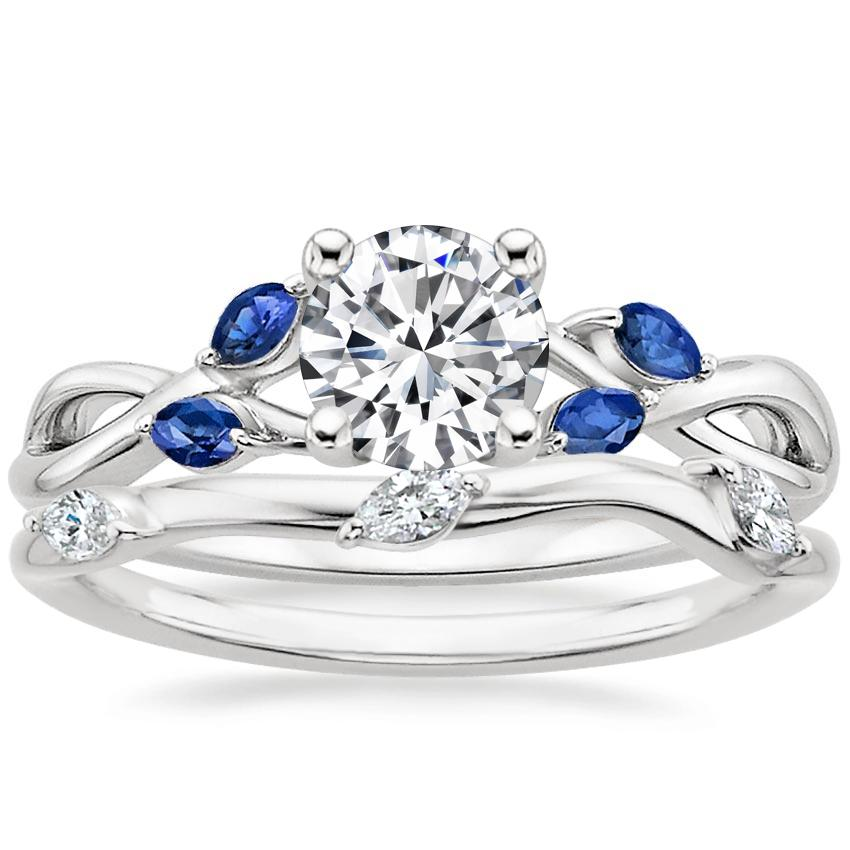 18K White Gold Willow Ring With Sapphire Accents with Willow Diamond Ring (1/10 ct. tw.)