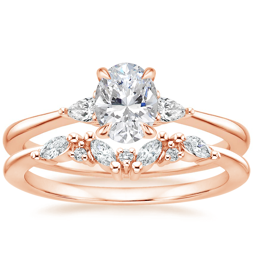 14K Rose Gold Aria Diamond Ring (1/10 ct. tw.) with Yvette Diamond Ring