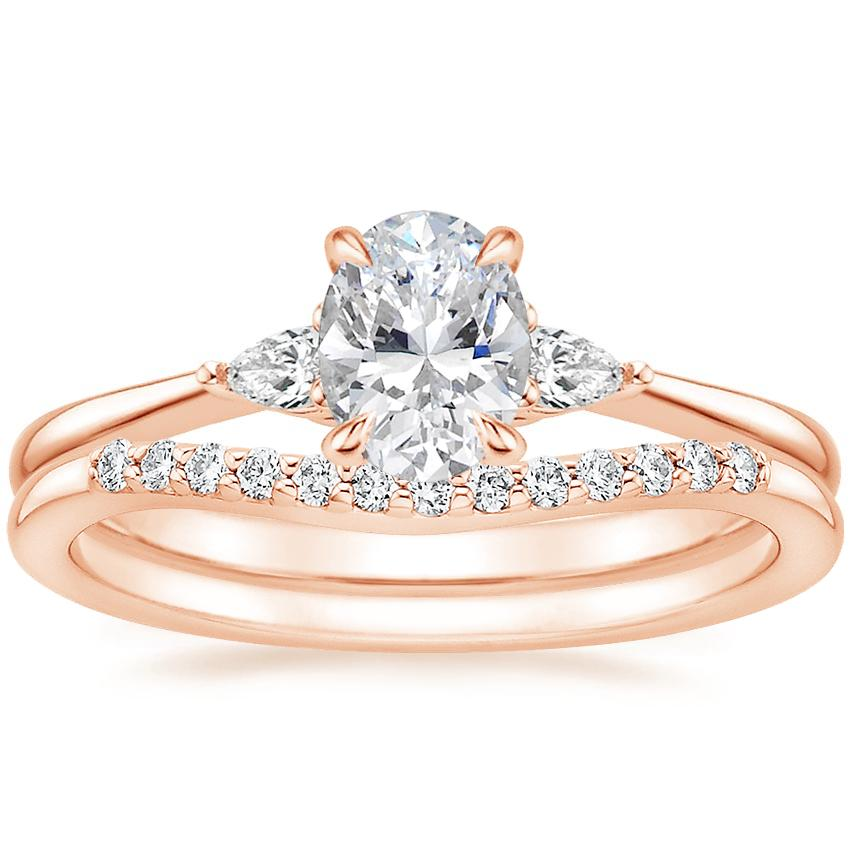 14K Rose Gold Aria Diamond Ring with Petite Curved Diamond Ring (1/10 ct. tw.)