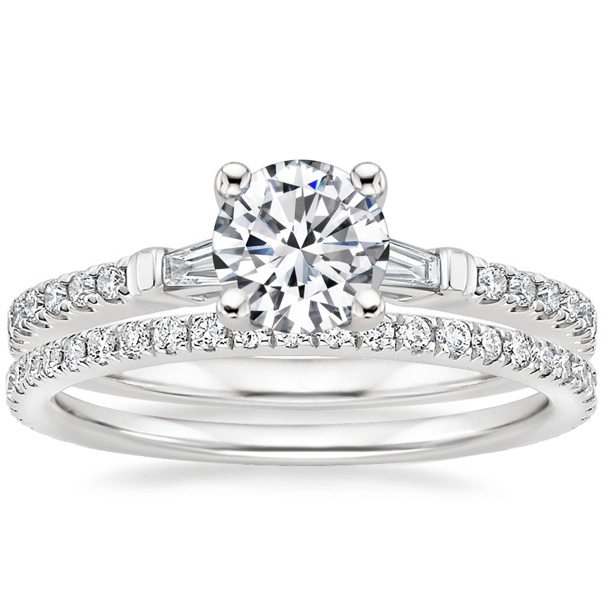 Platinum Luxe Tapered Baguette Diamond Ring (1/4 ct. tw.) with Luxe Ballad Diamond Ring (1/4 ct. tw.)