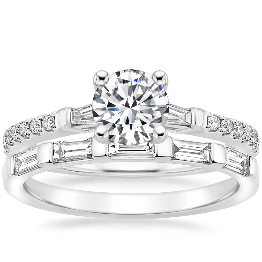 18K White Gold Luxe Tapered Baguette Diamond Ring (1/4 ct. tw.) with Lane Diamond Ring (1/3 ct. tw.)