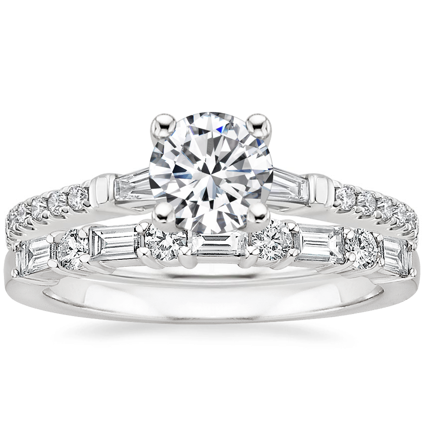 18K White Gold Luxe Tapered Baguette Diamond Ring (1/4 ct. tw.) with Leona Diamond Ring (1/3 ct. tw.)