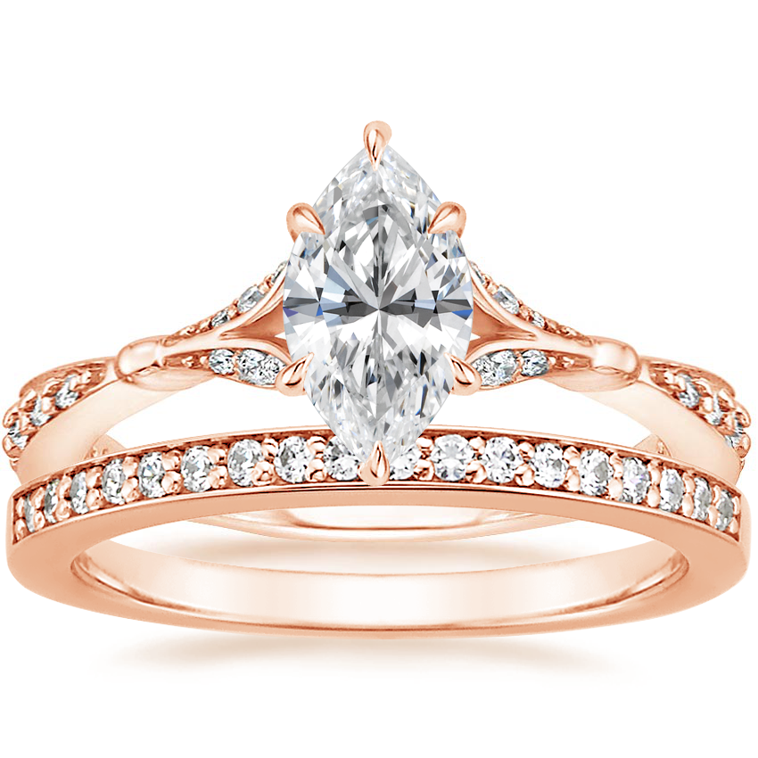 14K Rose Gold Zinnia Diamond Ring (1/3 ct. tw.) with Starlight Diamond Ring (1/8 ct. tw.)