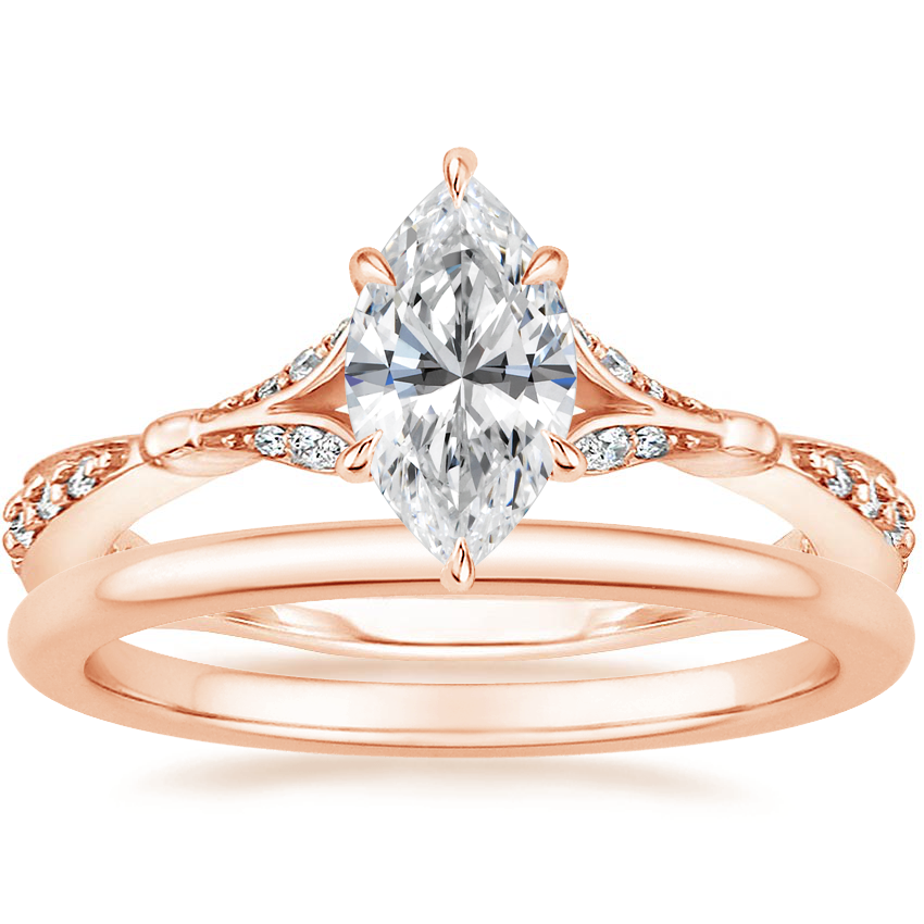 14K Rose Gold Zinnia Diamond Ring (1/3 ct. tw.) with Petite Comfort Fit Wedding Ring
