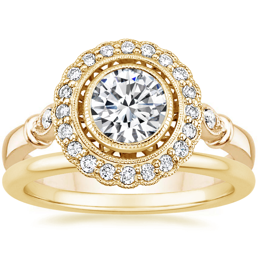 18K Yellow Gold Bella Diamond Ring with Petite Comfort Fit Wedding Ring