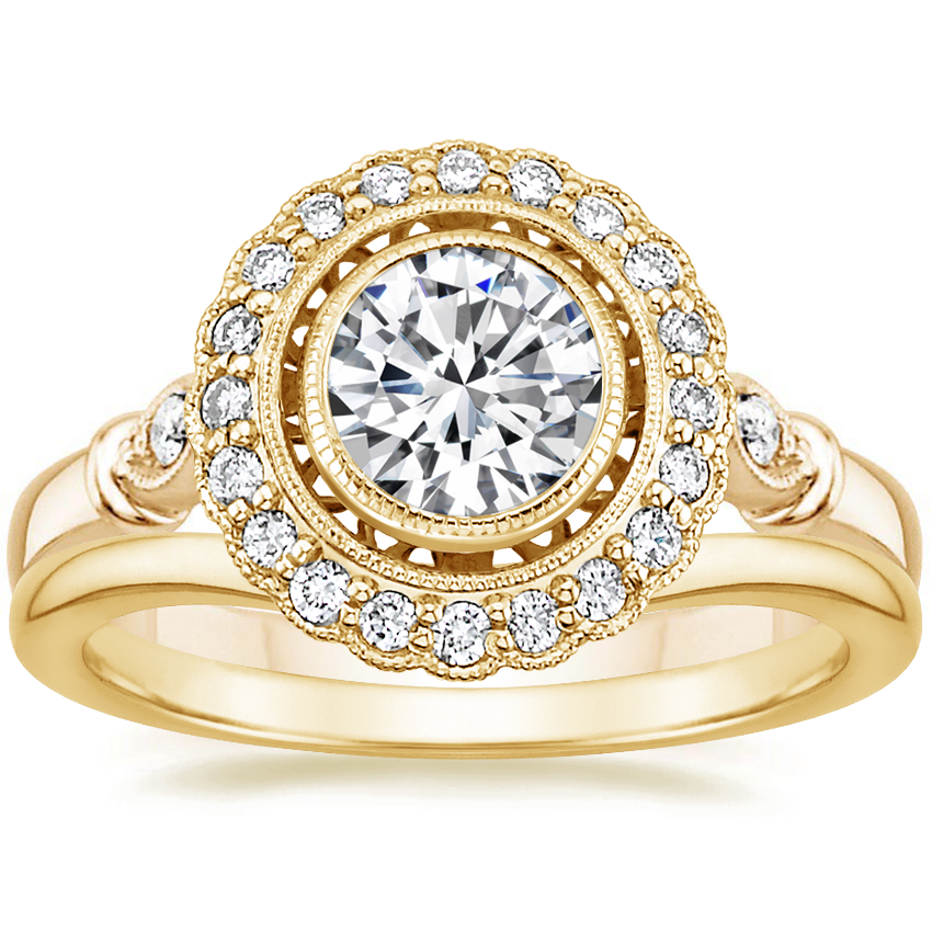 18K Yellow Gold Bella Diamond Ring with Petite Curved Wedding Ring