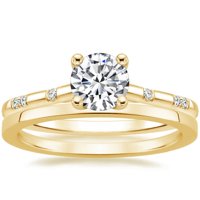 18K Yellow Gold Astra Diamond Ring with Petite Quattro Wedding Ring