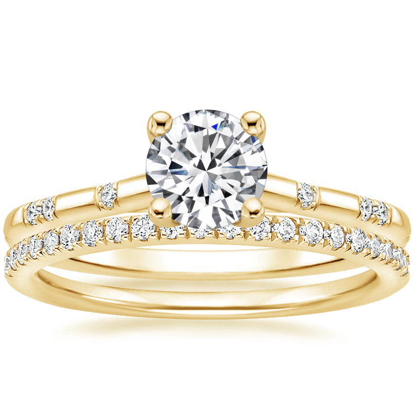 18K Yellow Gold Astra Diamond Ring with Ballad Diamond Ring (1/6 ct. tw.)